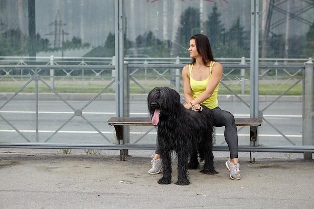 Shaggy black briard dog et femme propriétaire sont assis sur l'arrêt des transports publics en attendant le tramway sur la rue de la ville.