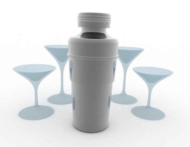 Shaker à cocktail avec verre