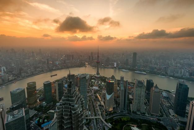 Shanghai, luajiazui, finance, et, district affaires, zone commerce, shanghai, porcelaine