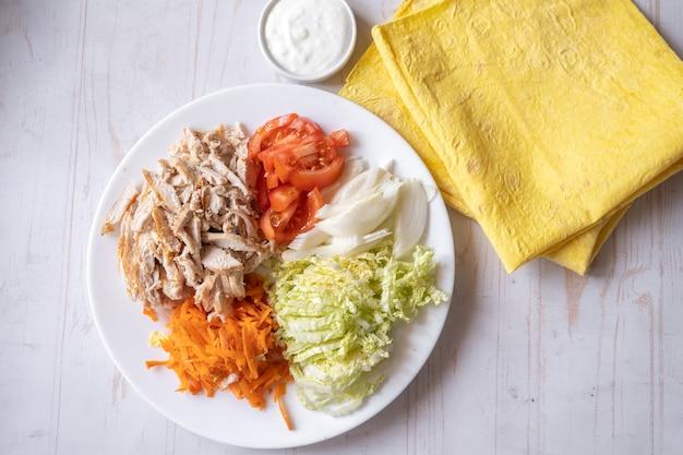 Shaurma, burrito, rouleau de poulet ou pita au poulet