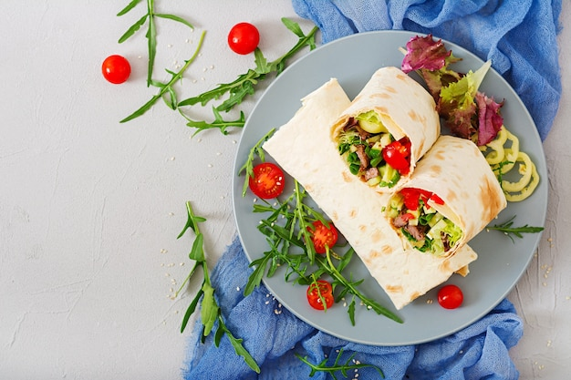 Shawarma de bœuf juteux, de laitue, de tomates, de concombres, de paprika et d'oignon dans du pain pita.