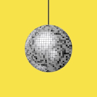 Shining night club party disco ball sur fond jaune. rendu 3d