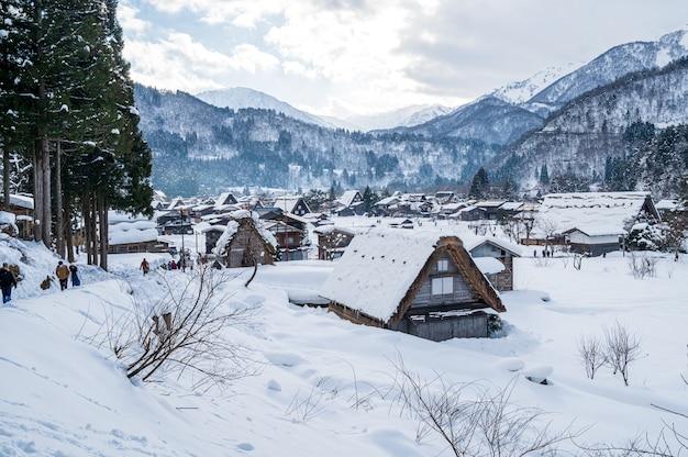 Shirakawa-go avec snowfall gifu chubu japon