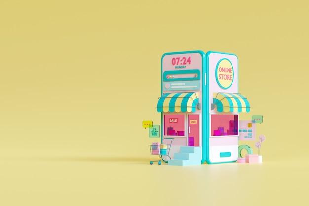 Shopping boutique en ligne sur le concept d'application mobile en rendu 3d