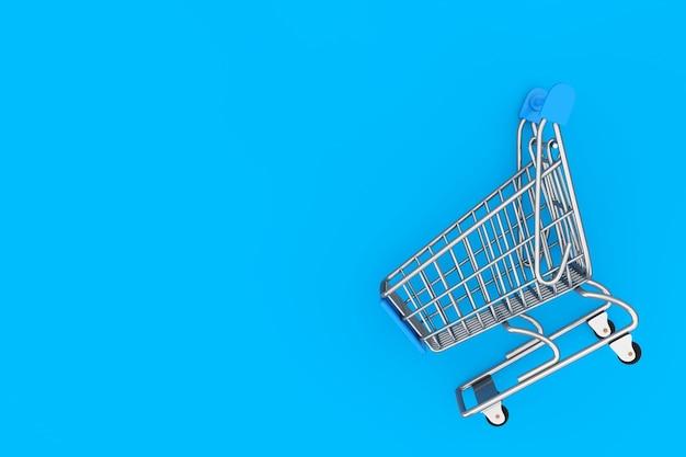 Shopping cart trolley mock up sur fond bleu. rendu 3d