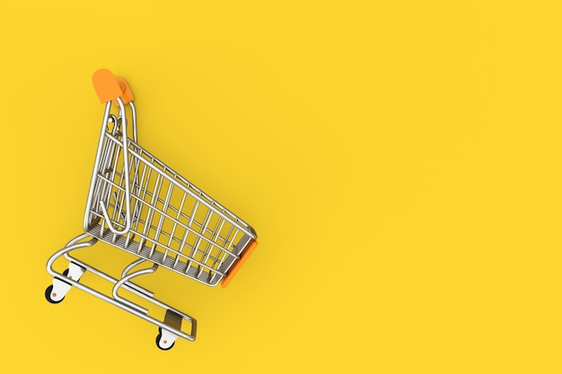 Shopping cart trolley mock up sur fond jaune. rendu 3d