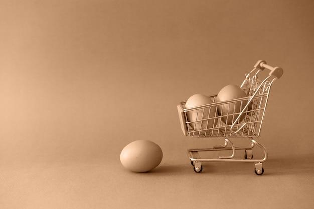 Shopping chariot de jouet avec des œufs sur la tonification dans le concept