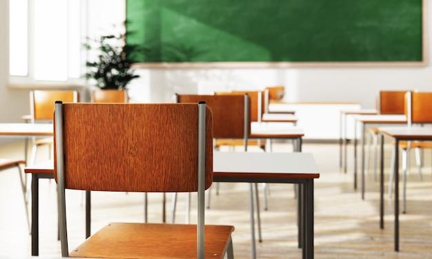 Siège arrière de chaise d'étudiant de plan rapproché et bureau en arrière-plan de classe avec sur le plancher en bois
