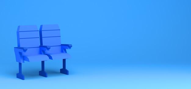 Sièges de cinéma sur fond bleu. illustration 3d. bannière. résumé.