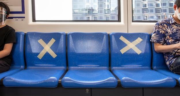 Sièges dans le train avec des signes de distance sociale