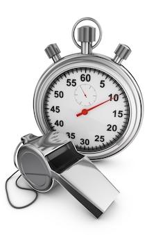 Sifflet d'arbitre et chronomètre sur fond blanc. rendu 3d.