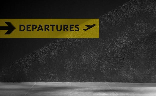 Signe de l'aéroport pour le répertoire des départs. concept de voyage et de transport