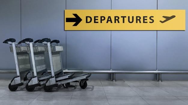 Signe de l'aéroport pour le terminal des départs à l'intérieur du bâtiment.