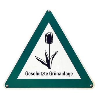 Signe allemand isolé sur blanc. espace vert protégé