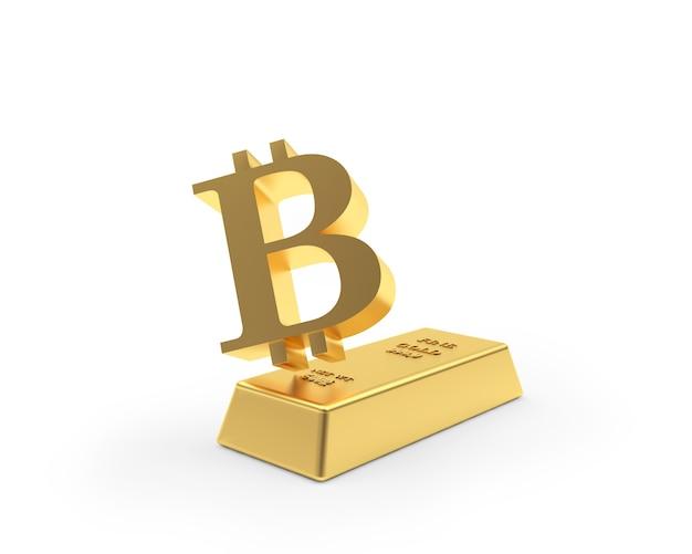Signe de bitcoin sur un lingot d'or