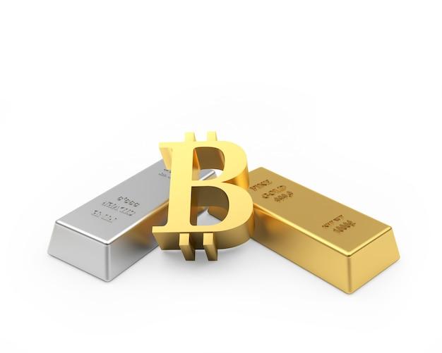 Signe De Bitcoin Avec Des Lingots D'or Et D'argent Photo Premium