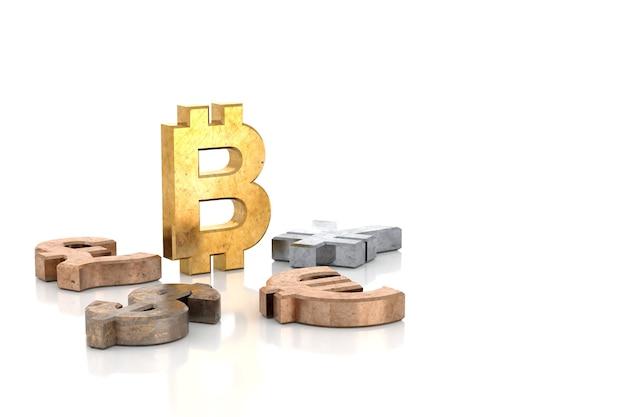 Signe de bitcoin d'or de rendu 3d avec d'autres signes d'argent tombant autour de lui sur le fond blanc