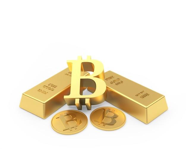 Signe de bitcoin avec des pièces et des lingots d'or. 3d