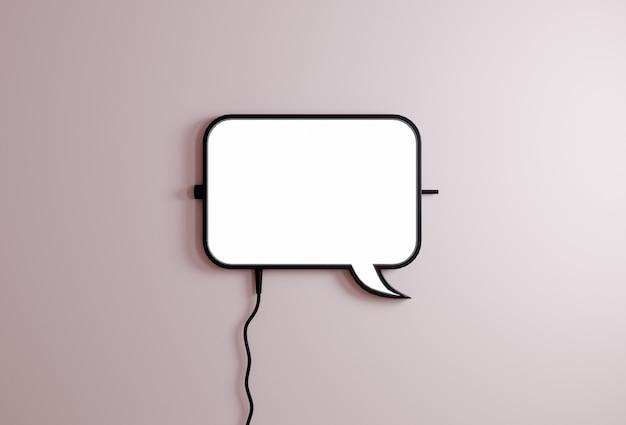 Signe de bulle de ballon discours sur fond rose clair. concept de communication icône de chat rendu 3d
