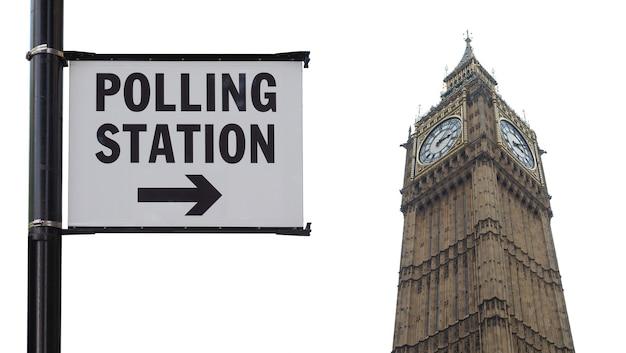 Signe de bureau de vote à londres