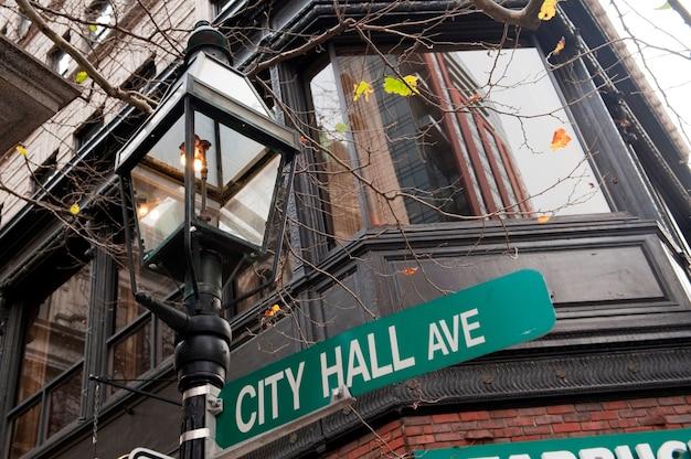 Signe de city hall avenue à boston, massachusetts, usa