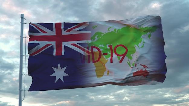 Signe covid-19 sur le drapeau national de l'australie. notion de coronavirus. rendu 3d.