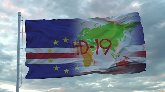 Signe covid-19 sur le drapeau national du cap-vert. notion de coronavirus. rendu 3d