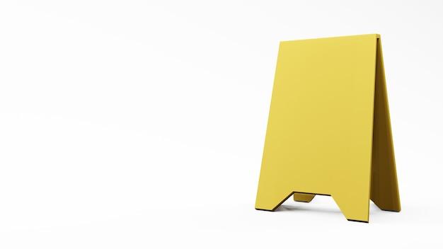 Signe de devanture jaune sur fond blanc , rendu 3d .