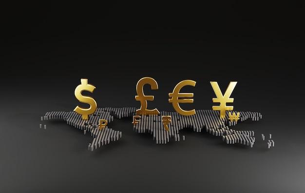 Le signe de devise principal sur la carte du monde comprend le dollar yen, l'euro et la livre sterling pour le trading de devises et le concept de change par rendu 3d.