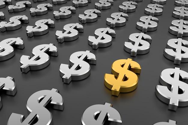 Signe de dollar doré au milieu des signes de dollar en argent. rendu 3d.