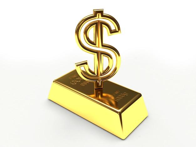 Signe de dollar doré sur lingot d'or