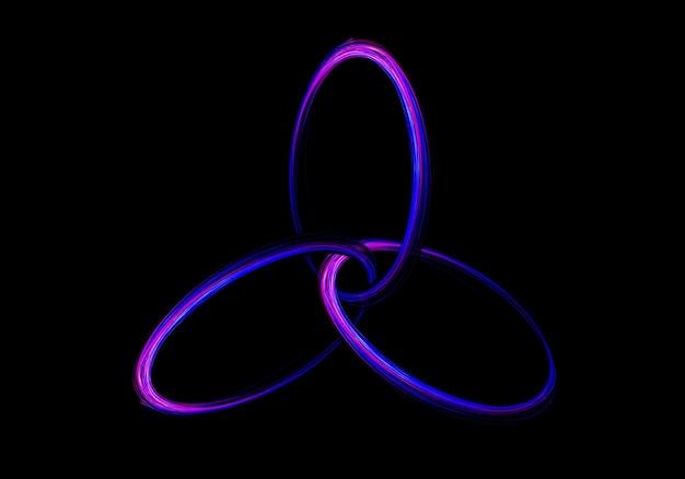 Signe du cercle abstrait de la lumière led sur le fond noir