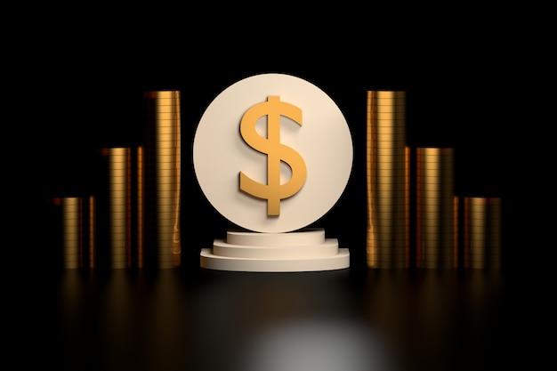 Signe du dollar avec des pièces d'or
