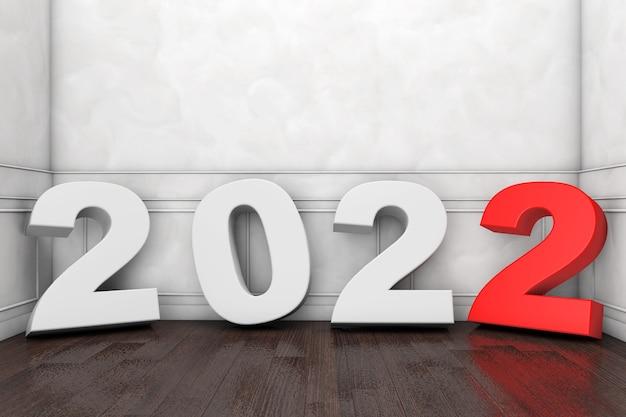Signe du nouvel an 2022 dans la salle vide, gros plan extrême. rendu 3d