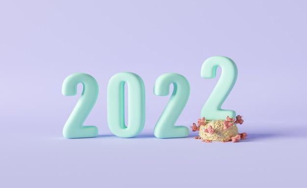 Signe du nouvel an 2022 avec un nombre marchant sur le coronavirus