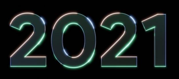 Signe d'effet néon en métal 2021 avec effets lumineux et brillants illustration 3d rendant le texte 3d