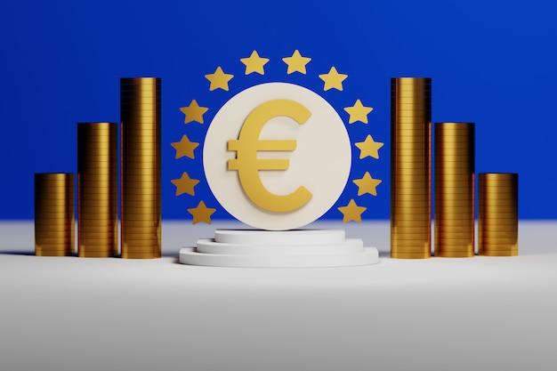 Signe de l'euro avec des pièces d'or sur fond bleu