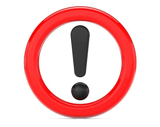 Signe d'exclamation dans l'anneau rouge sur fond blanc