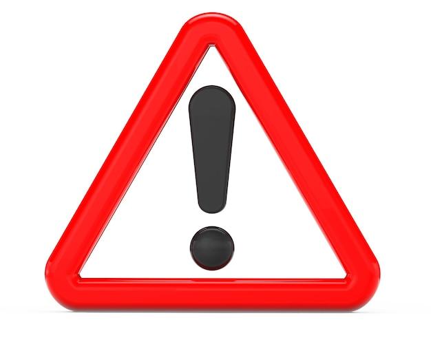 Signe d'exclamation en rouge triangulaire sur fond blanc