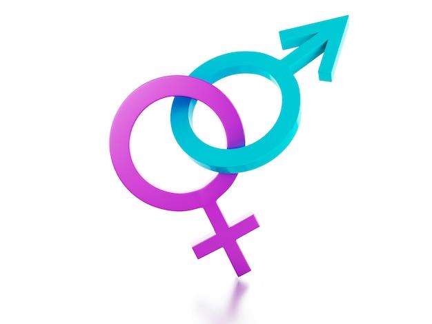 Signe féminin et masculin sur fond blanc. illustration 3d