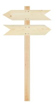 Signe de la flèche en bois blanc isolé