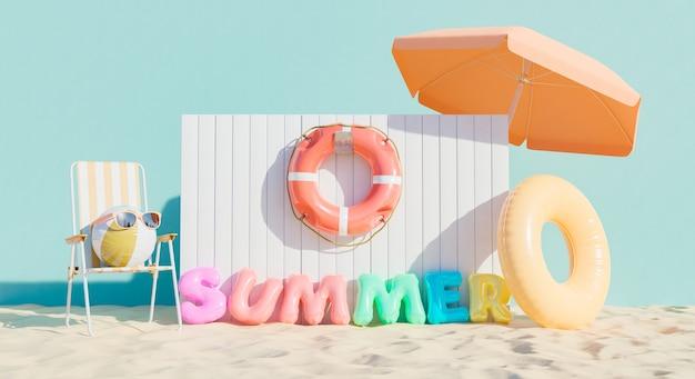 Signe de flotteurs avec le mot summer et accessoires de plage. concept de vacances d'été. rendu 3d