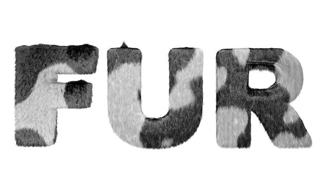 Signe de fourrure noir et pleurnichard sur fond blanc