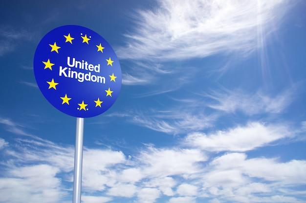 Signe de frontière du royaume-uni avec le ciel de nuages. rendu 3d