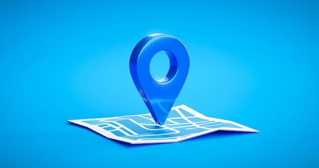 Signe d'icône d'épingle de symbole d'emplacement bleu ou carte de localisation de navigation voyage pointeur de direction gps et marqueur place élément de conception de point de position sur l'arrière-plan de destination de la marque de route graphique de l'itinéraire. rendu 3d.