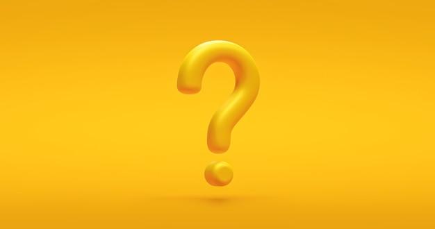 Signe d'icône de point d'interrogation jaune ou demander une solution de réponse à la faq et un symbole d'entreprise d'illustration de support d'information sur un fond vif avec une idée graphique de problème ou un concept d'aide. rendu 3d.