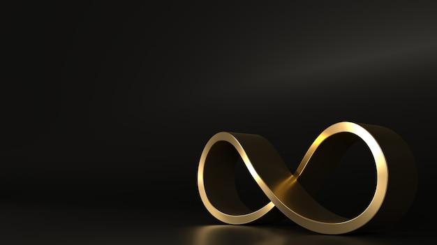 Signe infini forme spirale dorée fermée