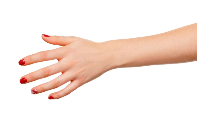 Signe de main de belle femme tenant isolé sur blanc