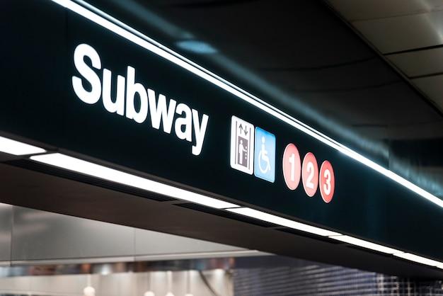 Signe de métro closeup