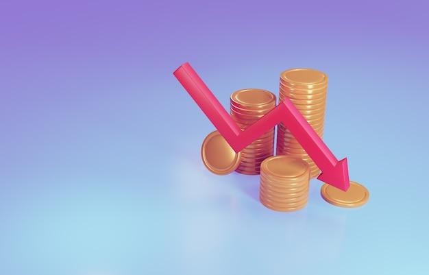 Signe d'or avec flèche rouge descendant. notion de faillite. illustration 3d